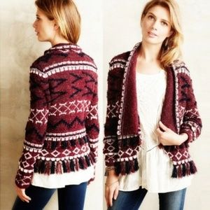 [Anthro] Moth Vera's Fringed Cardigan Sweater M